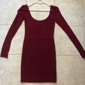 Red long sleeve wide neck dress